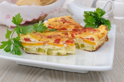 omelette, zuchini slice