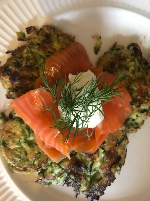 Fritters with smoked salmon